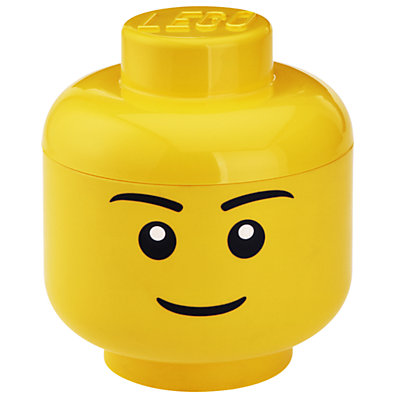 Children's storage container in the shape of a Lego head