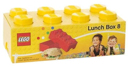 Child's yellow lunch box in the shape of a Lego brick