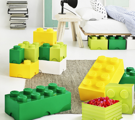 Children's storage boxes in the shape of lego bricks